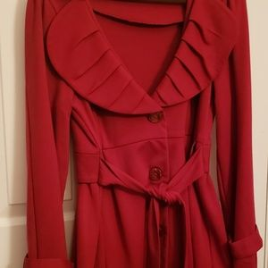 Fever Ruffled Belted Jacket, Brilliant Red